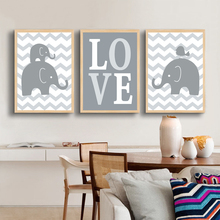 Canvas Painting Elephant Love Nursery Art Artwork Posters and Prints Oil Wall Pictures Canvas Kids Room Home Decor No Frame