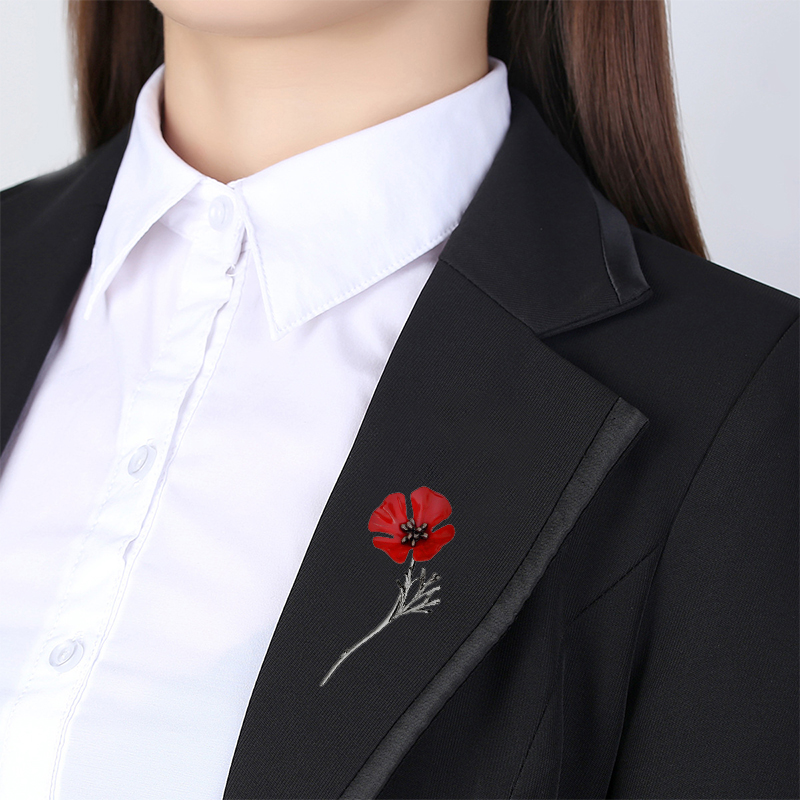 Black Gold Color Vintage Brooch Antique Red Poppy Flower Nrooch Pins Large Brooches for Women Men Suit Collar Accessories X424   (7)