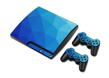 Pure Blue Vinyl Skin For PS3 Slim Stickers for Sony PlayStation 3 Slim + 2 Controllers For PS3 Slim Decal Skin(China)