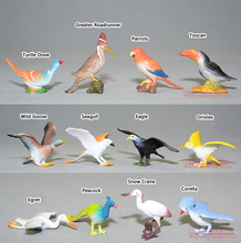 Free Shipping (12 pieces/set) Birds Toy Model Dove/Parrots/Toucan/Seagull/Crane/Eagle/Egret Plastic Flying Animals Mini Figures
