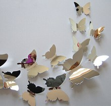 Hot 12PCS Mirror Sliver 3D Butterfly Wall Stickers Party Wedding Home Decorations