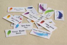 42 Feather Logo Labels, Clothing Labels, personalized  custom iron on labels (cotton tags)