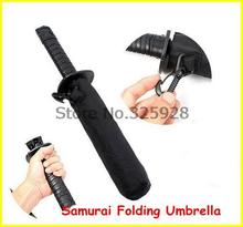 100pcs/lot  Invincible Samurai Folding Umbrella Strong Windproof Short Style Umbrella  Samurai Sword Ninja Katana Umbrella