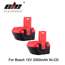 ELEOPTION 2PCS 12V 2000mAh Battery For Bosch BAT043 BAT045 12 VE-2 GLI 12V GSB GSR PSR 2.0Ah