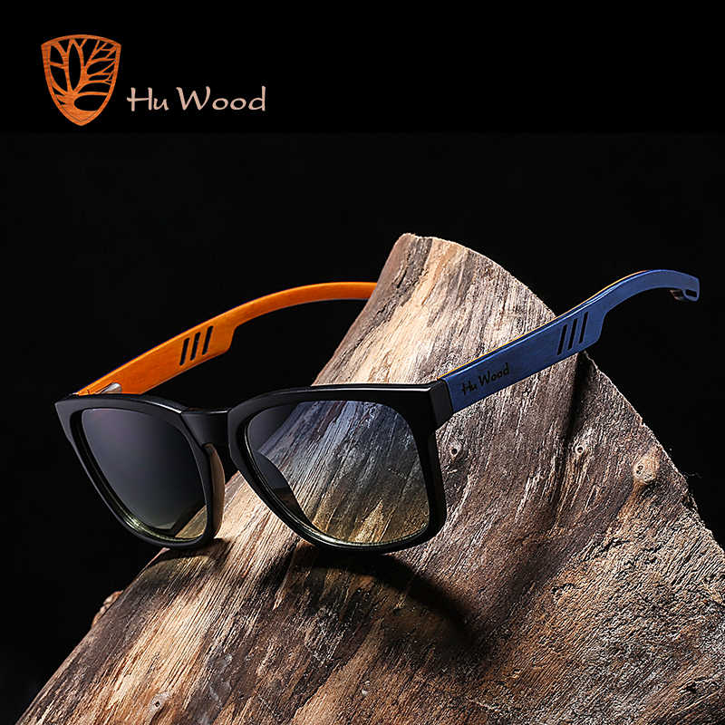 HU WOOD Brand Design Multi-color Frame Skateboard Wood Sunglasses for Men Color Gradient Lenses Driving Shade Anti-glare GR8011