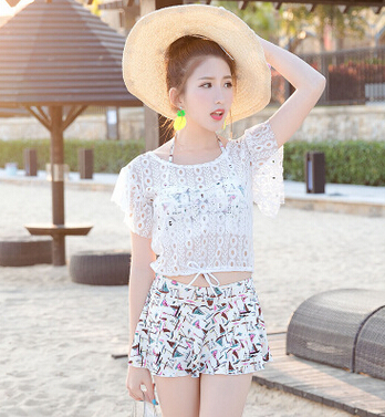 2017 new skirt bikinis three piece cover belly thin blouse sun Korean wholesale swimwear swimsuit<br>