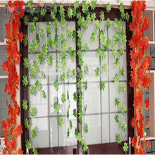 JOY-ENLIFE 1pcs cheap Artificial Vine  Ivy Leaf Fake Garland Plants Foliage Garden For Wedding Party Home Hotel  Store Decor