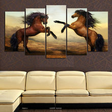 5 panels large HD printed canvas painting brown horse canvas print art modern home decor wall art picture for living room F619(China)