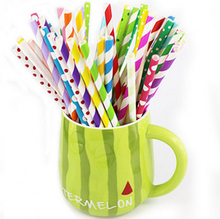 eco friendly Striped dotted Paper Straws 6x195mm novelty party use Drinking Paper Straws Multi colors 100pcs/lot min order