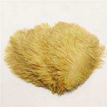 gold splendid 10pcs/lot 10-12 inches fluffy ostrich feathers for craft ostrich plumes wedding party decoration 25-30cm