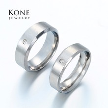 Top Quaility Simple Lovers Couple Ring Stainless Steel Crystal Ring For lovers Men Women Gift Jewelry Drop Ship