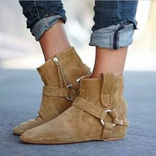 Spring Autumn Vintage Ankle Boots Suede Leather Women's Flat Zipper Boots Inner Heel Height Increasing Riding Boots