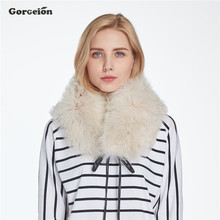 Gorgeion 3 Colors Real Wool Women Scarf New Fashion Real Fur Genuine Fur Scarf Winter Warm Brand Collar Fur Shawl ZC-21(China)