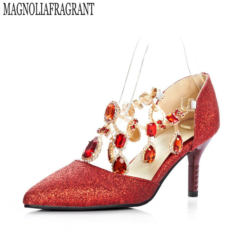 Large size shoes 40-43 yards diamond single shoes pointed Korean red sequined wedding shoes with high heels big w632<br>