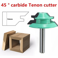 "45 Degree Lock Miter Router Bit 1-1/2"" Diameter 1/4"" Shank Wood Cutter For Wood Working Drilling"