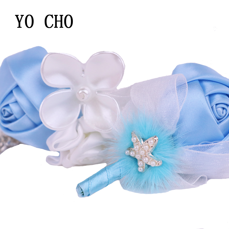 YO CHO DIY Wedding Bridal Girl Bridesmaid Sisters Flower Hand Silk Rose Bracelet Quinceanera Prom Starfish Feather Wrist Corsage(China)