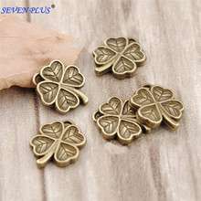 High Quality 50 Pieces/Lot 13mm*11mm Diy Jewelry Metal Charms Antique Bronze Double-sided Clover Charms