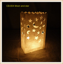 30pcs/lot Moon And Star Design Candle Bag Tea Light Paper Bags Luminaries Lantern for party wedding decorations  9*15*26cm