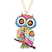 Buy Newei Owl Necklace Pendant Long Acrylic Pattern New Fashion Jewelry Women Girl Charm Cute Animal Collar Accessories for $3.95 in AliExpress store