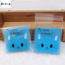 100 pcs Cute blue cat adhesive bag cookies diy Gift Bags for Christmas Wedding Party Candy Food&Handmade soap Packaging bags