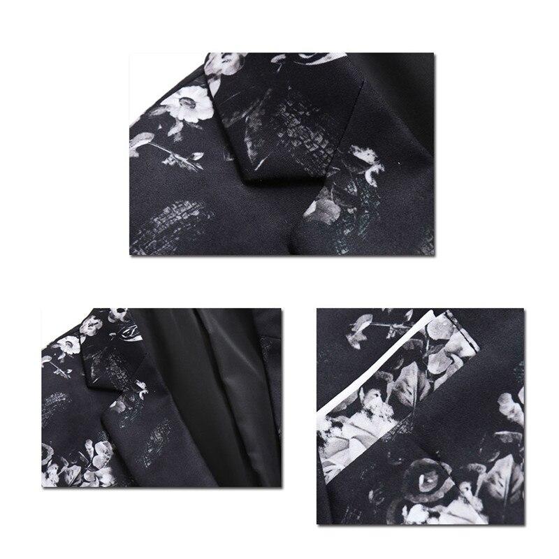 YFFUSHI 2018 Floral Herren Anzug Jacke Frühling One Button Weiß Blumendruck  Schwarz Blazer Casual Style Slim Fit Fashion 9fb9dfb350