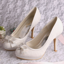 Bulk Wholesale Women Black Ivory Red Lace High Heels Shoes Wedding Evening Pumps(China)