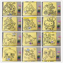 27*21cm Fashion 10pcs Cartoon DIY Color Sand Painting Patterns Kids Intelligence Education Tools Art Drawing Study Fun Toys Gift