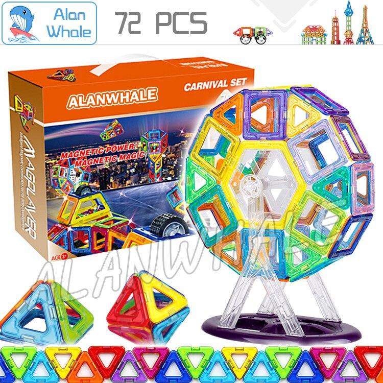 72 pcs/set Magnetic Toy ABS Plastic Building Block 3D Blocks DIY Kds Toys Educational Model Building Kits Magnets Designer Set<br>