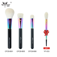 Anmor Buy 3 Get 1 Gift Pure Goat Hair Face Makeup Brushes Kit Powder Blush Blending Make Up Brushes Rainbow Color(China)