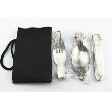 Outdoor Portable Camping Collapsible Picnic Foldable Tableware Stainless Steel Fork And Spoon Cookware