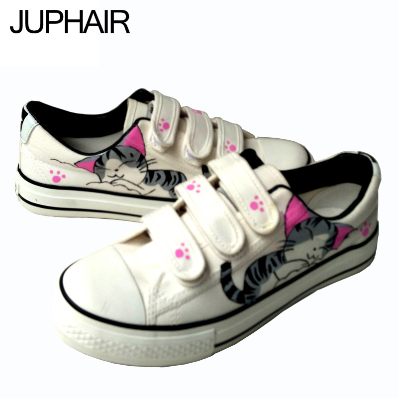 JUP Men Female dames zapatos mujer Fashion Casual Color White Fresh Mint Mens Shoes Hand Painted Sweet Cat canvas Tenis Feminino<br><br>Aliexpress