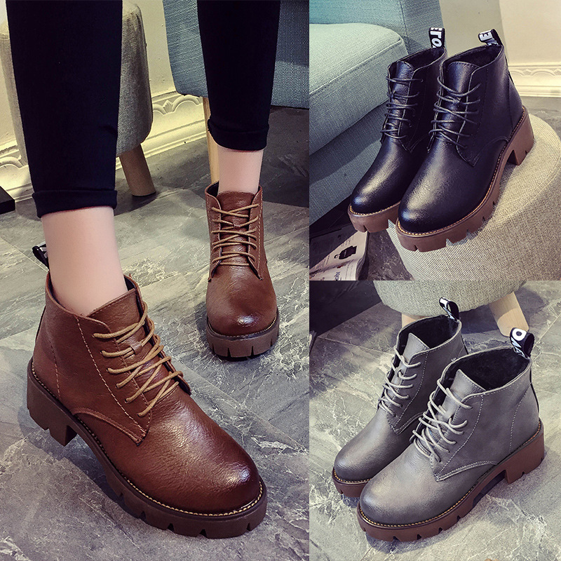 women high quality spring and autumn boots lady cute pu leather lace up platform martin boot botas femininas lady cute shoes<br><br>Aliexpress