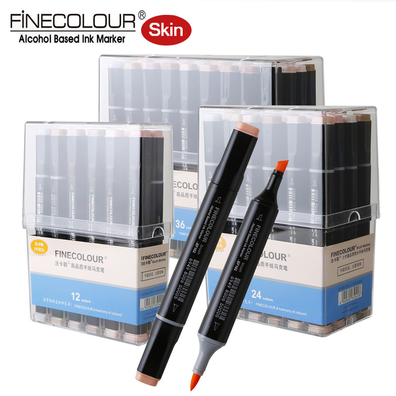 Finecolour EF102 Dual Brush Alcohol Markers 12 24 36 Skin tone Soft Felt Pens Anime Ultra fine Calligraphy Illustration Marker <br>