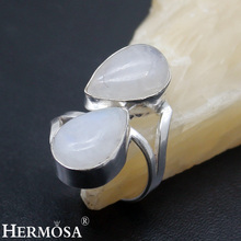 Hermosa jewelry Simple 2 drops of water Natural White Moonstone  925 Sterling Silver Elegant Womens Ring Size 7 HF1849