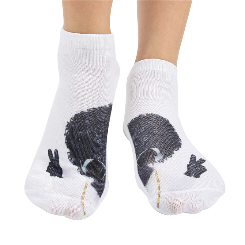 JUMEAUX 4 Pairs Newly Funny 3D Dogs Pug Printed Socks Women Low Cut Ankle Socks for Women Men Unisex 17 4