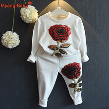 Spring 2pcs Boutique Children's Clothing Set Baby Kid Little Girls Embroidered Sequins Rose Floral Top Shirt+Pants Outfits White
