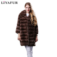 LIYAFUR 3 Colors 2017 Real Genuine Long Natural Chinchilla Rex Rabbit Fur Winter Coat for Women Furry Coats Jacket