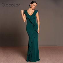 Buy Clocolor women elegant evening mermaid green sexy v neck ruffles sleeveless 2017 fishtail floor length v back ladies party dress for $20.39 in AliExpress store