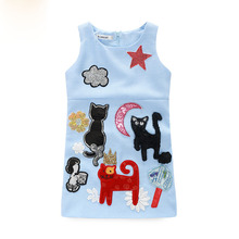 Milan Creations Cartoon Cat Girls Sundress sleeveless Girl Dress Baby Girls Frocks Designs Robe Fille Enfant 2-8years Old