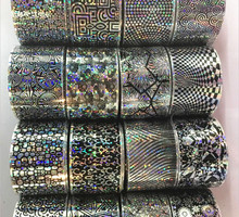 16 rolls 4*20CM Hologram Nail Foil Lot Geometric Diamond Wrap Nail Art Transfer Foil For Gel Nails Decoration Beauty Sticker