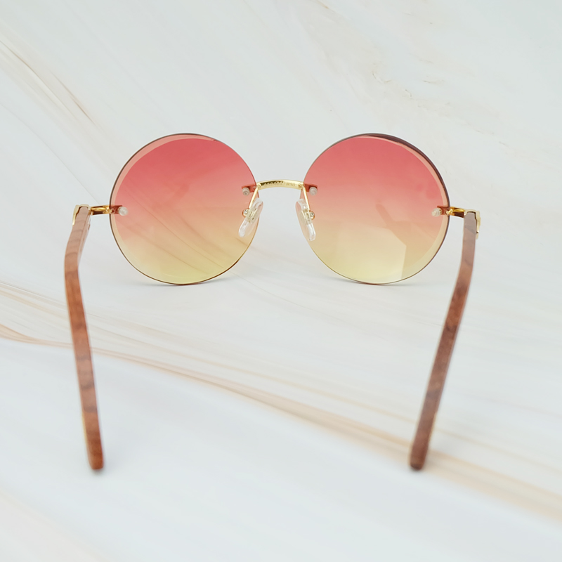 2018 Vintage Retro Big Rimless Frame Colorful Yellow Pink UV400 Protect Brand Designer Sunglasses For Men And Women Round Shades (6)