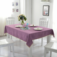 Rectangle Table Cloth Solid Purple Polyester Fabric with Beautiful Laces Design for Dining Room Cheap and Recyclable