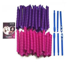 40pcs 55cm DIY Hair Magic Curler Long Spiral Curls Top Up Pack with 5pcs Curling Rod & PVC Packing Bag (Rose Red & Deep Purple)