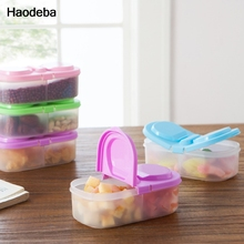Haodeba Plastic Food Storage Box 2 Lattices Sealed Crisper Grains Tank Storage Kitchen Sorting Food Storage Box Container(China)