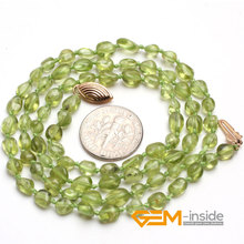 freeform natural Peridot stone necklace DIY necklace Birthstone of August Lucky stone for Gemini Leo and Libra free shipping