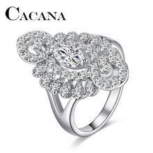 Buy CACANA New Crystal Rings Women White Rhinestone Zinc Alloy SILVER Color Wedding Female Flower Rings FINE JEWELRY for $1.06 in AliExpress store