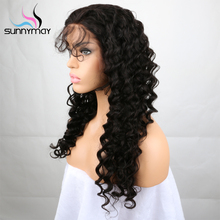 Sunnymay Hair Peruvian Remy Full Lace Human Hair Wigs For Black Women Pre Plucked Deep Wave Lace Wigs With Baby Hair(China)