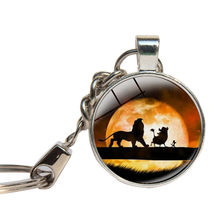 Lion King Simba Anime Movie Keychain Glass Cabochon Animal King Of Forest Lion Key Chains Glass Dome Key Ring Handmade Jewelry(China)