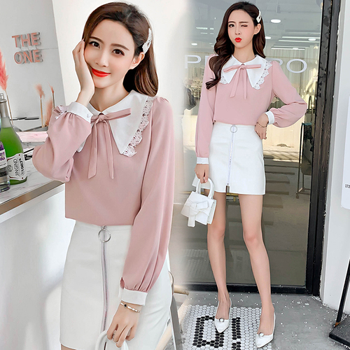 Spring Korean 2019 Preppy Style Patchwork Peter Pan Collar Shirt Women Kawaii Blouse With Bow Top Womens