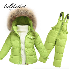 Hot Children Winter Clothing set Boys Ski Suit Girl Down Jacket Coat + Jumpsuit Set 1-6 Years Clothes For Baby Boy/Baby Girl